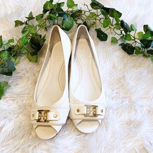 Tory Burch Cline Peep Toe Flats White & Gold Logo